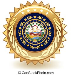 New Hampshire Badge - Gold badge with the flag of New...