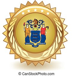 New Jersey Badge - Gold badge with the flag of New Jersey