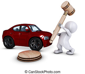 3D Morph Man with car and gavel