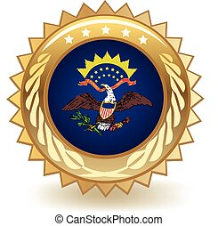 North Dakota Badge - Gold badge with the flag of North...