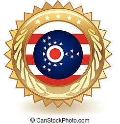 Ohio Badge - Gold badge with the flag of Ohio.