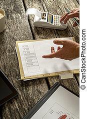 Financial adviser or accountant checking statistical data...