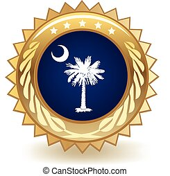 South Carolina Badge - Gold badge with the flag of South...