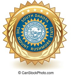 South Dakota Badge - Gold badge with the flag of South...