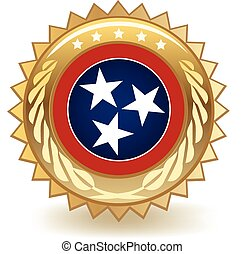Tennessee Badge - Gold badge with the flag of Tennessee
