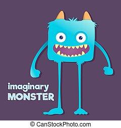 Cute Furry Imaginary Monster - Children imaginary furry long...