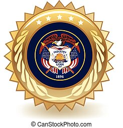 Utah Badge - Gold badge with the flag of Utah.
