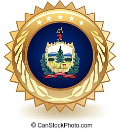 Vermont Badge - Gold badge with the flag of Vermont