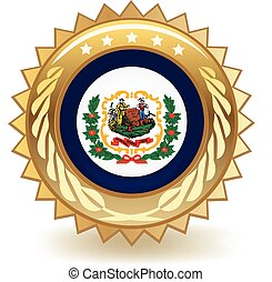 West Virginia Badge - Gold badge with the flag of West...