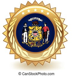 Wisconsin Badge - Gold badge with the flag of Wisconsin