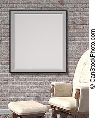 Blank frame with leather armchair