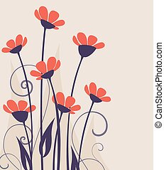 Vector wild flowers - Vector illustration of colorful...