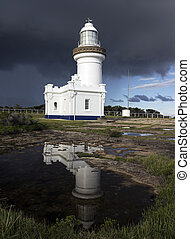 Point Perpendicular Lighthouse reflected in the pond New...