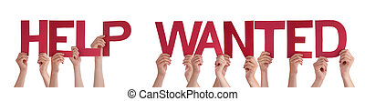 People Hands Holding Red Straight Word Help Wanted - Many...
