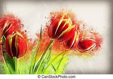 Grunge Tulips image