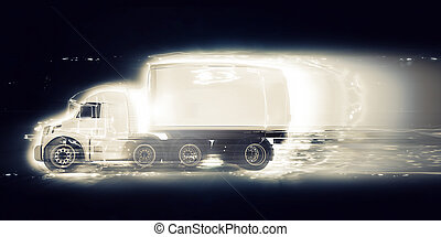 3D generic truck with speed effect - 3D render of a generic...