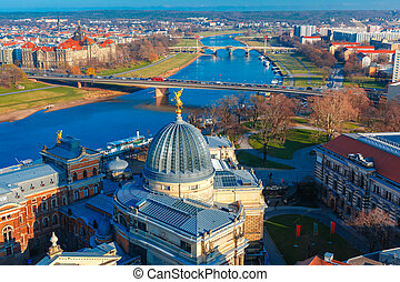 Aerial view of Elbe and roofs Dresden, Germany - Aerial view...