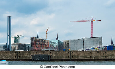 Apartements under construction in Hafencity Hamburg Germany...