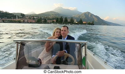 Lovers Having a Boat Trip on the Lake Como