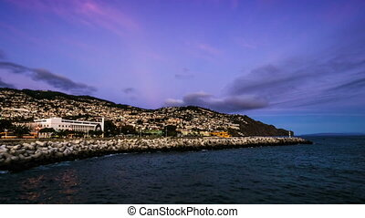 Sunset over Funchal, capital city of Madeira, Portugal