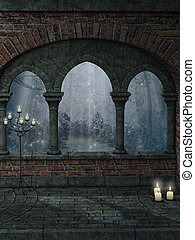 Fantasy landscape with old structure and candle