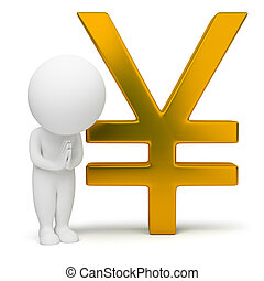 3d small people - yen sign - 3d small people with a yen sign...