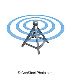 Wireless tower - wireless tower with radio waves isolated on...