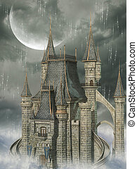 fantasy background with castle in the sky
