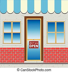 Mom and Pop Mini Grocer (Vector) - Shop Facade With Come In...