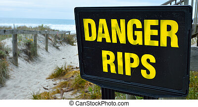 Danger rips of strong currents sign posted on the beach....