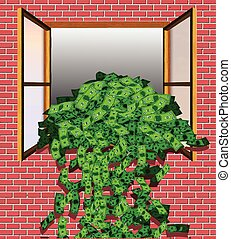 Overflowing Money - Cash Flowing Out the Window (Vector)