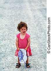 Little girl having a tantrum screaming - Little girl age 1-2...