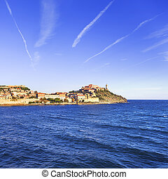 Elba island, Portoferraio village and lighthouse Tuscany,...