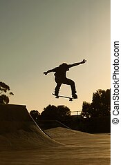 Skatepark - A skater in action at a skate park