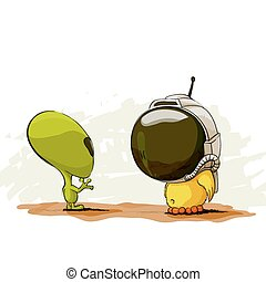 Space meeting with alien