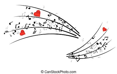 notes - vector musical notes with hearts