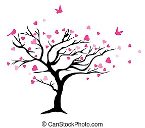 valentine tree - vector illustration of tree with hearts and...