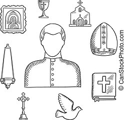 Priest and religious icons or symbols, sketches set - Priest...