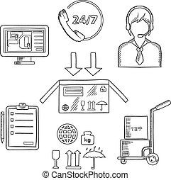 Logistics, shipping and delivery icons sketches