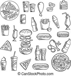 Fast food snacks and takeaway drinks icons including pizza,...