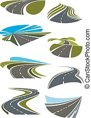Roads and highway icons set. Gray asphalt roads, green...