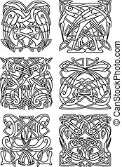 Heron, stork and crane celtic ornaments - Heron, stork and...