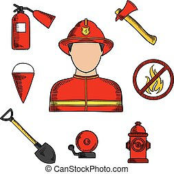 Fireman and fire fighting symbols - Firefighter or fireman...