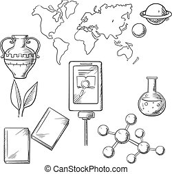 Education and science sketch icons with books and plant,...
