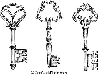 Old key sketletons in sketch style - Vector sketches of old...