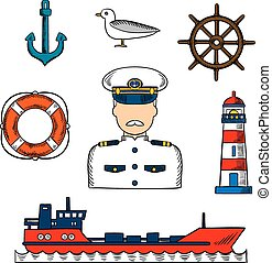 Captain or sailor with nautical objects - Sailor or captain...