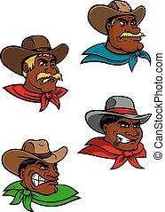 Cartoon western cowboys and sheriffs - Cartoon western...
