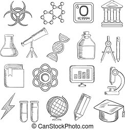 Science and education sketched icons with college and book,...