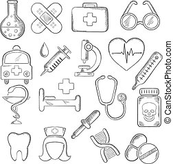 Medical and healthcare icons sketches