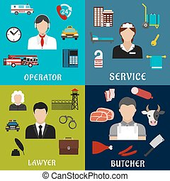 Phone operator, lawyer, maid and butcher icons - Call-center...